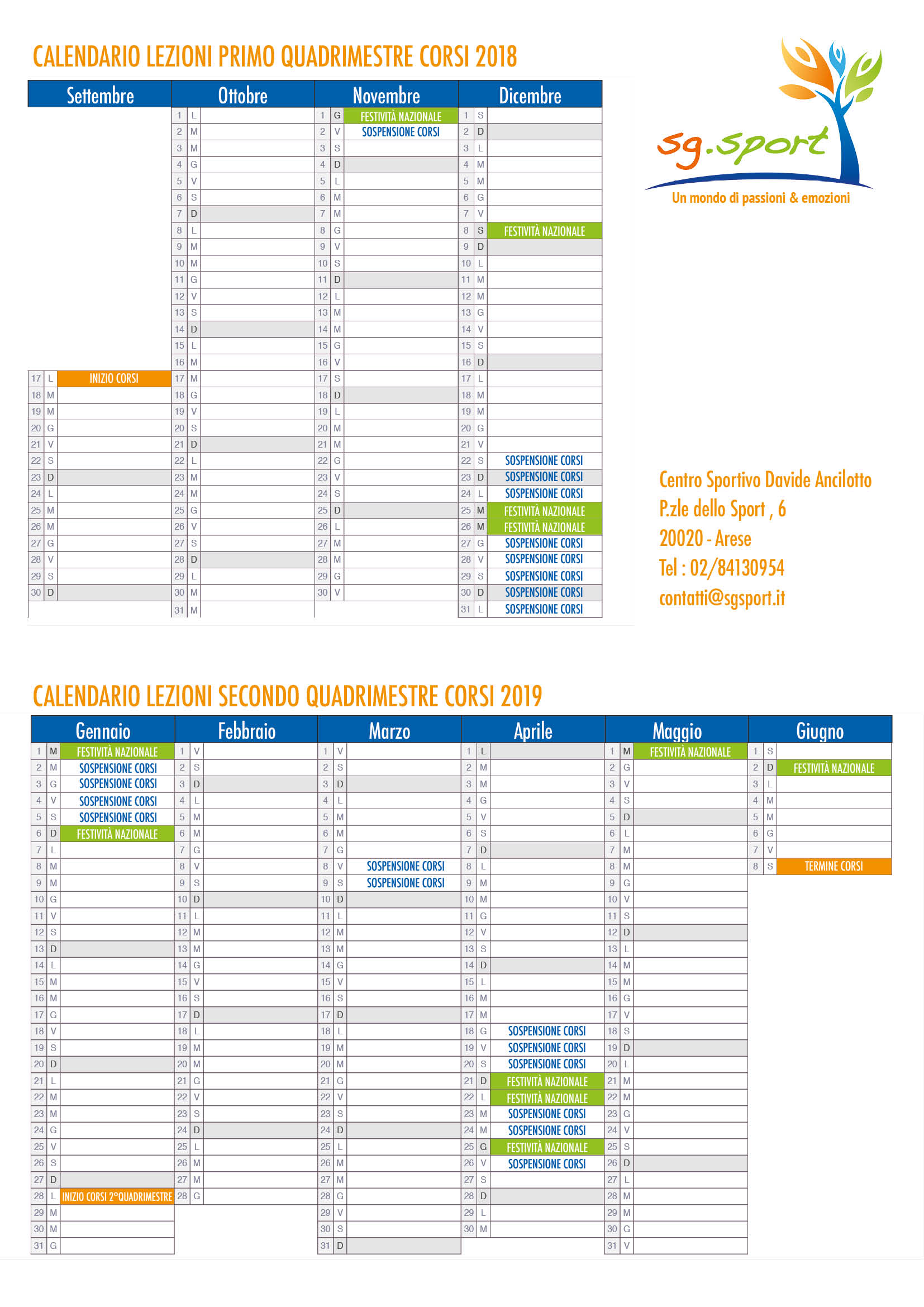 Calendario Corsi.Calendario 2018 2019 Corsi Sg Sport Sg Sport